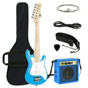 Best Choice Products 30in Kids Electric Guitar Beginner Starter Kit w/ 5W Amplifier, Strap, Case, Strings - Light Blue