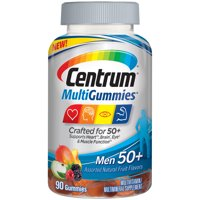 Centrum Men 50+ MultiGummies (90 Count, Assorted Natural Fruit Flavors) Multivitamin/Multimineral Supplement Gummy, Vitamin D3, Zinc, B Vitamins, Antioxidants