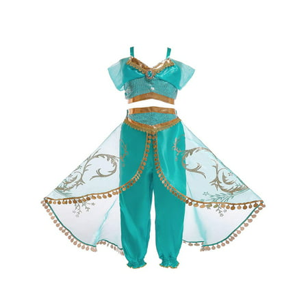 Princess Jasmine Halloween Costume For Toddlers (Aladdin Jasmine Princess Cosplay Baby Kid Girl Fancy Dress Up Party Costume Sets Christmas)