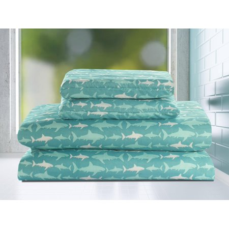 Twin 3 Piece Sheet Set Shark Bedding Kids Teal Blue White ()