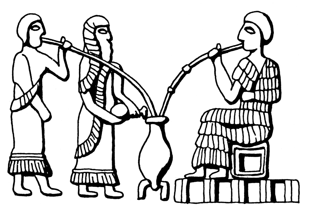 Mesopotamia Drinking Beer Nmen Drinking Beer Through Straws After A