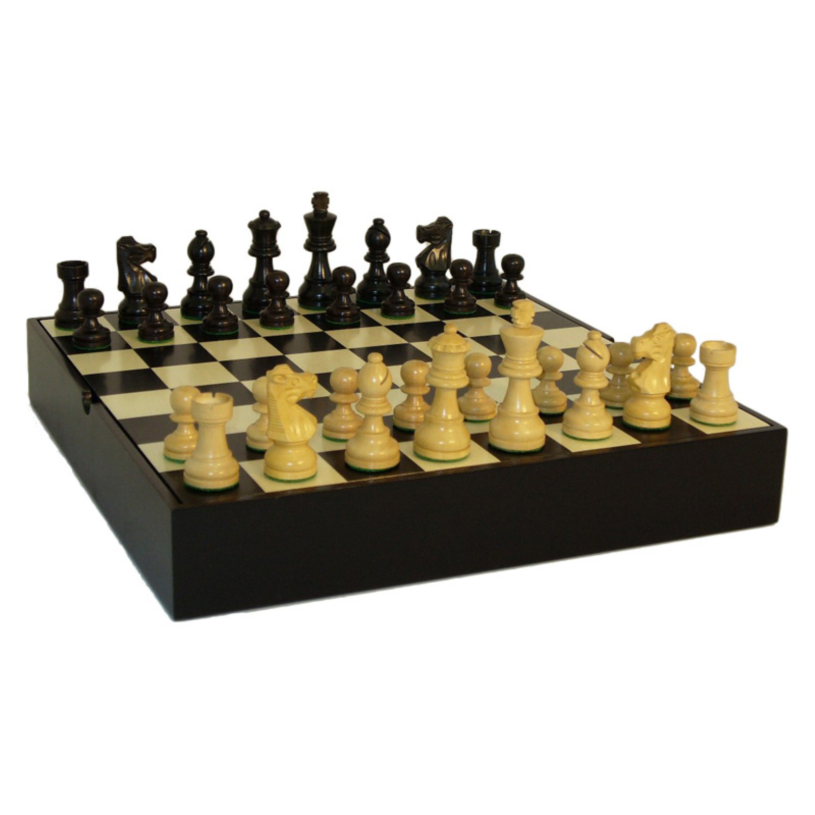Black and Natural Wood French Knight Chess Set in Inlaid Black and Maple Chest by World Wise Imports