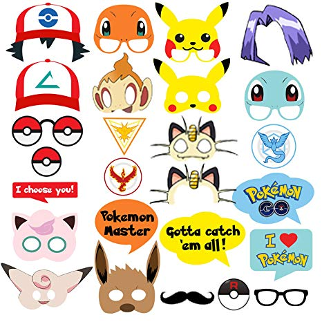 Pokemon Party Supplies 26 Photo Booth Props Suitable for Birthday Theme Party](80s Theme Party Supplies)