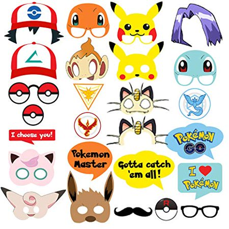 Pokemon Party Supplies 26 Photo Booth Props Suitable for Birthday Theme Party - Great Themes For Parties