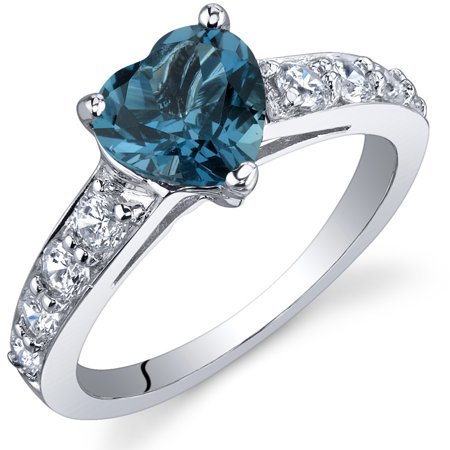 1.25 Ct London Blue Topaz in Rhodium-Plated Sterling Silver