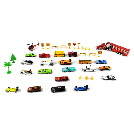 40 PCS Mini Toy Diecast Vehicle Metro Deluxe City Speed Racing Play Set, Comes with Street Play Mat, Variety of Vehicles (Cars Racing Play Mat)