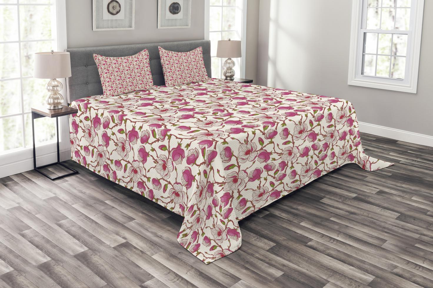 Flower Bedspread Set, Romantic Spring Branches Bursting into Flowers Pink  Magnolia Garden Botany, Decorative Quilted Coverlet Set with Pillow Shams  ...