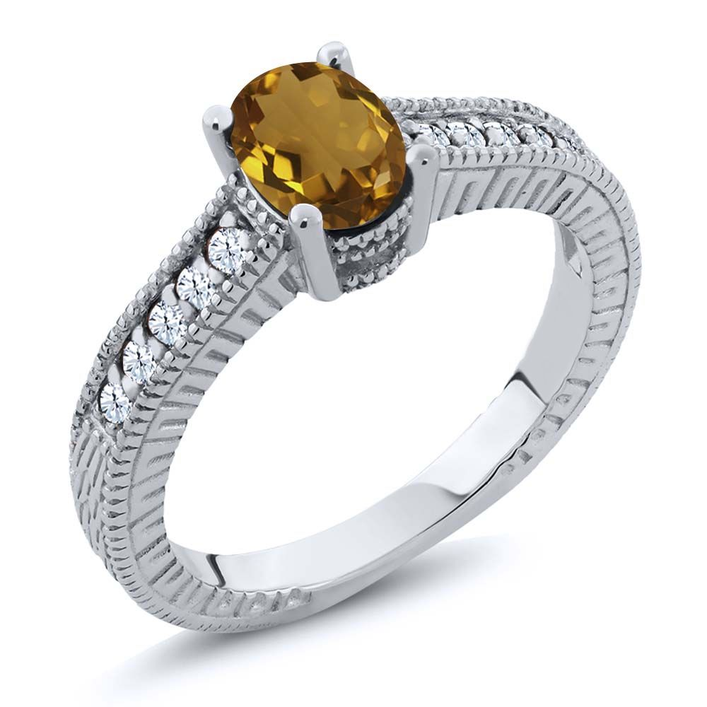 1.10 Ct Oval Champagne Quartz White Topaz 925 Sterling Silver Engagement Ring