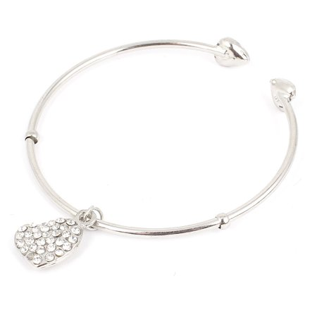 Unique Bargains Rhinestone Detail Heart Shaped Pendant Wrist Cuff Bracelet Bangle Silver Tone