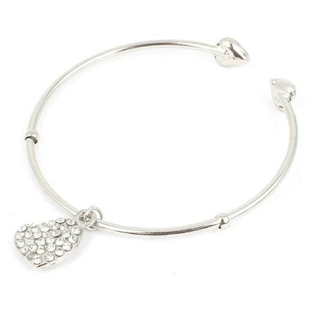 Unique Bargains Rhinestone Detail Heart Shaped Pendant Wrist Cuff Bracelet Bangle Silver Tone (Detail Bangle)
