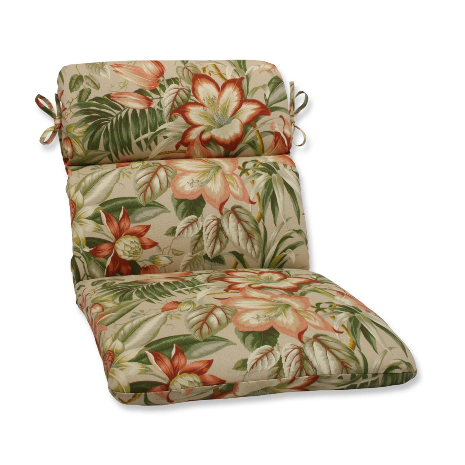 """40.5"""" Green, Tan and Coral Tropical Garden Decorative Outdoor Patio Rounded Chair Cushion"""