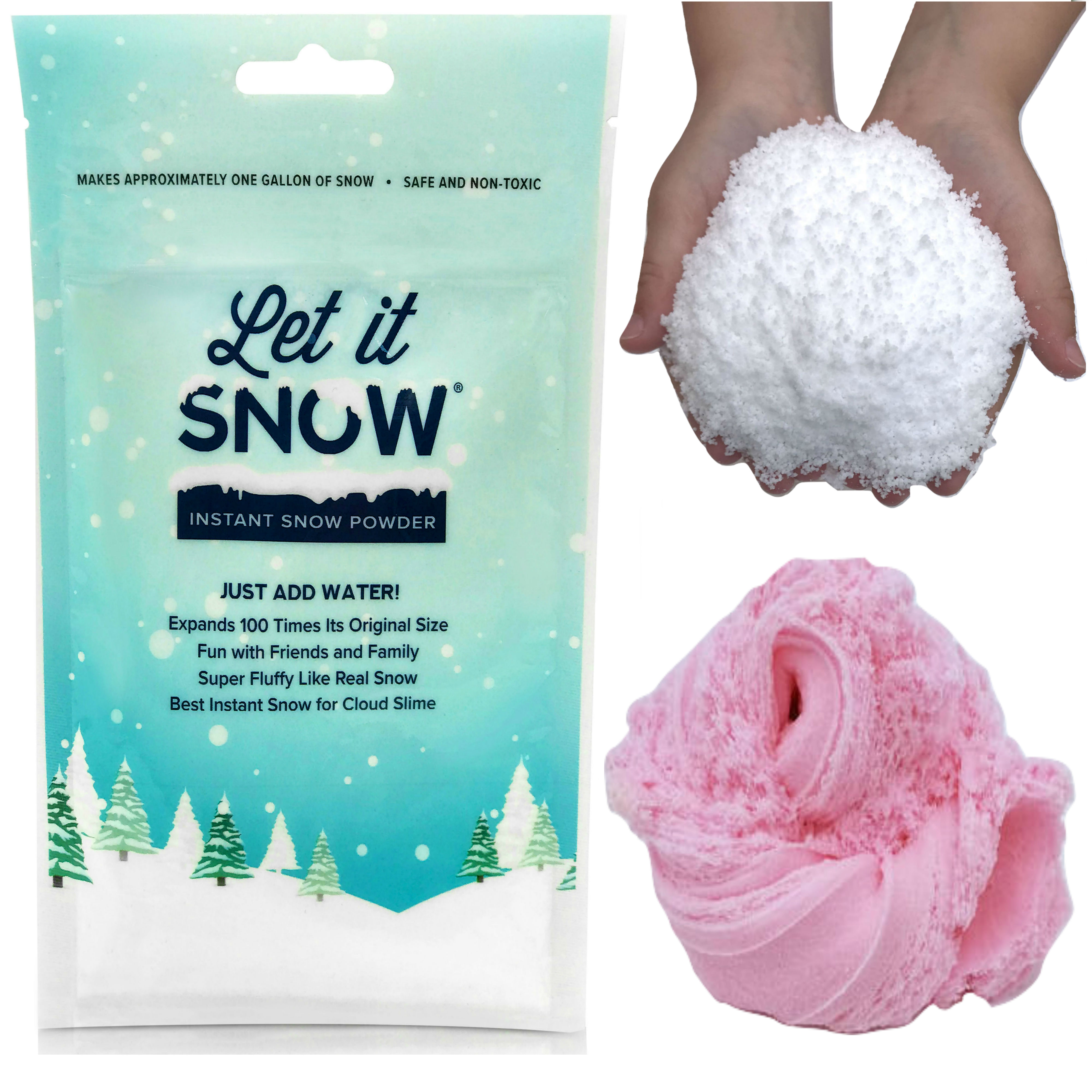 Let it Snow Instant Snow Powder for Slime, Premium Fake Snow Perfect for Cloud Slime Supplies! Made in the USA - Safe and Non-Toxic