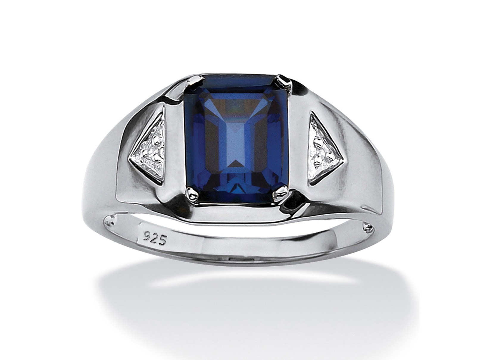 Men's 2.75 TCW Emerald-Cut Sapphire and Diamond Accented Ring in Platinum over Sterling Silver by PalmBeach Jewelry