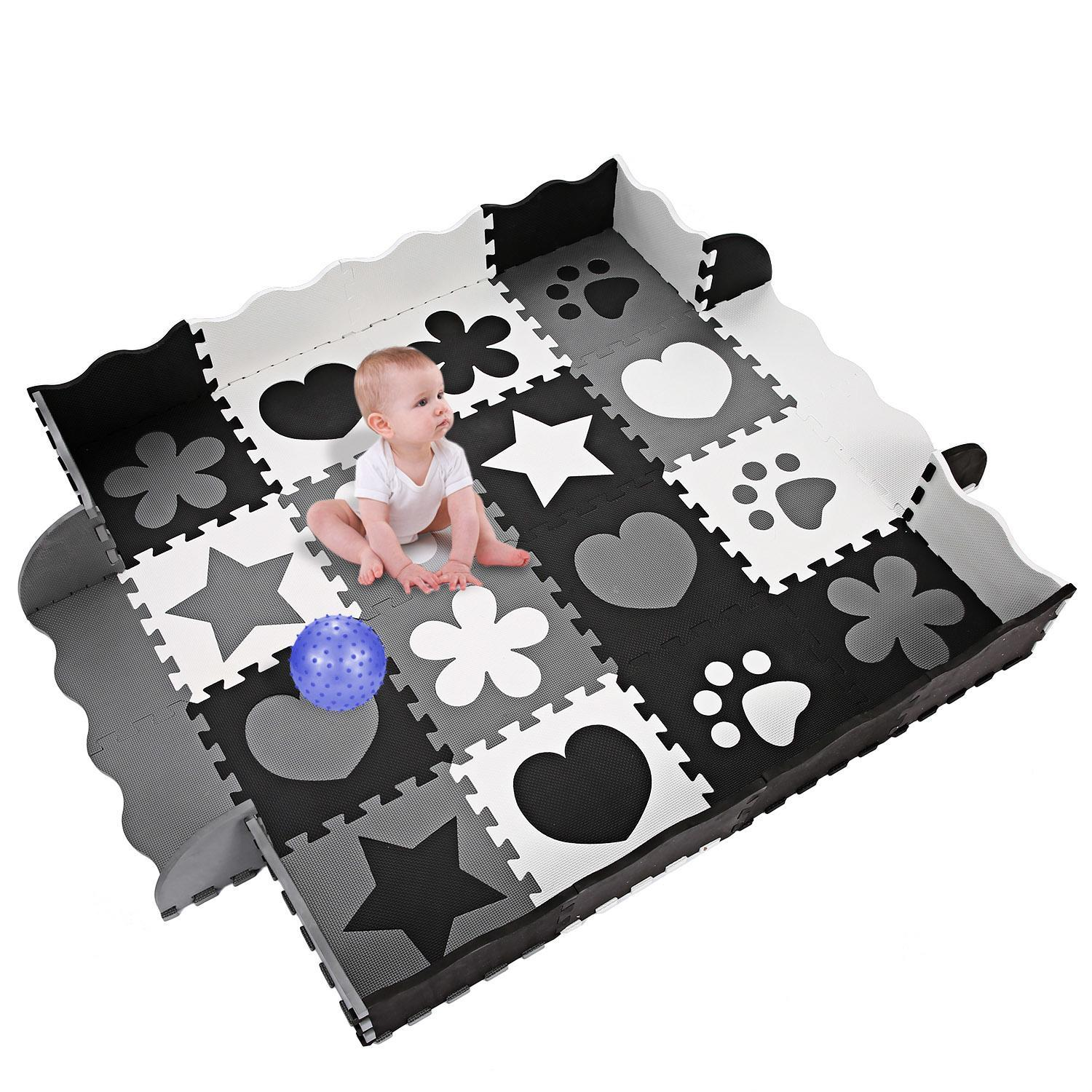 Hifashion Kids Baby Non-Toxic Extra Thick Foam Large with Gate Fence Crawling Play Mat HFON
