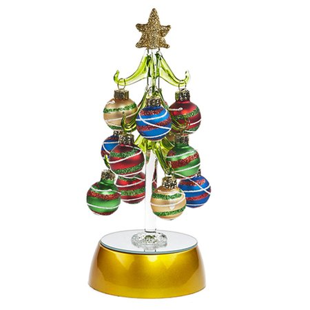 striped ornament light up mini christmas tree by ganz