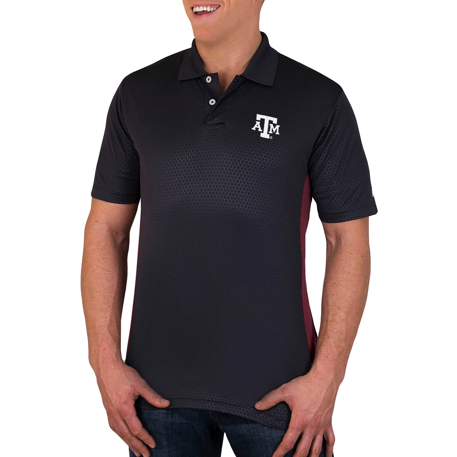 NCAA Texas A&M Aggies Men's Synthetic Embossed-Pattern Polo