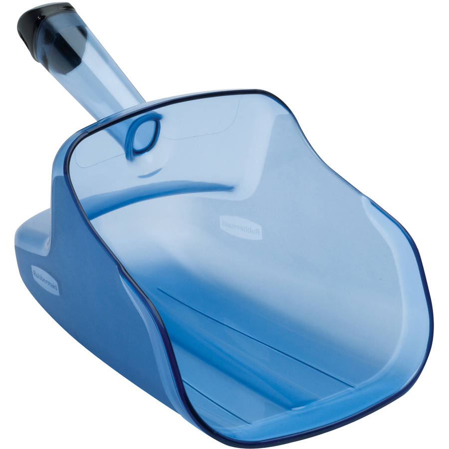 Rubbermaid Commercial 74 oz. Transparent Blue Hand-Guard Scoop