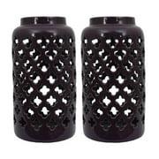 Ceramic Moroccan Pattern Lanterns (Set of Two) Purple