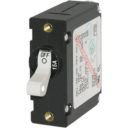 Blue Sea Systems A-Series White Toggle Circuit Breaker, Single Pole, 15A