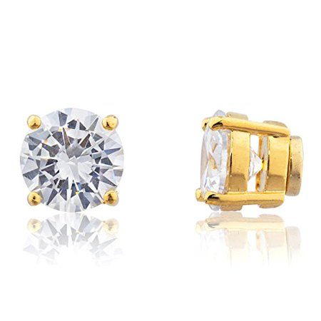 Goldtone with Clear Cz Round Magnetic Stud Earrings - 8mm to 11mm Available (10mm)