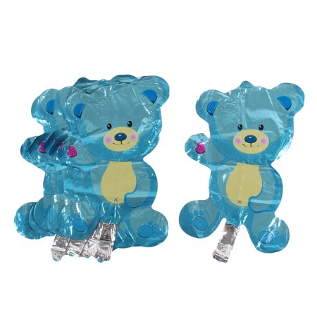 Birthday Party Aluminum Film Cartoon Foil Decoration Bear Balloon Blue 7 PCS ()