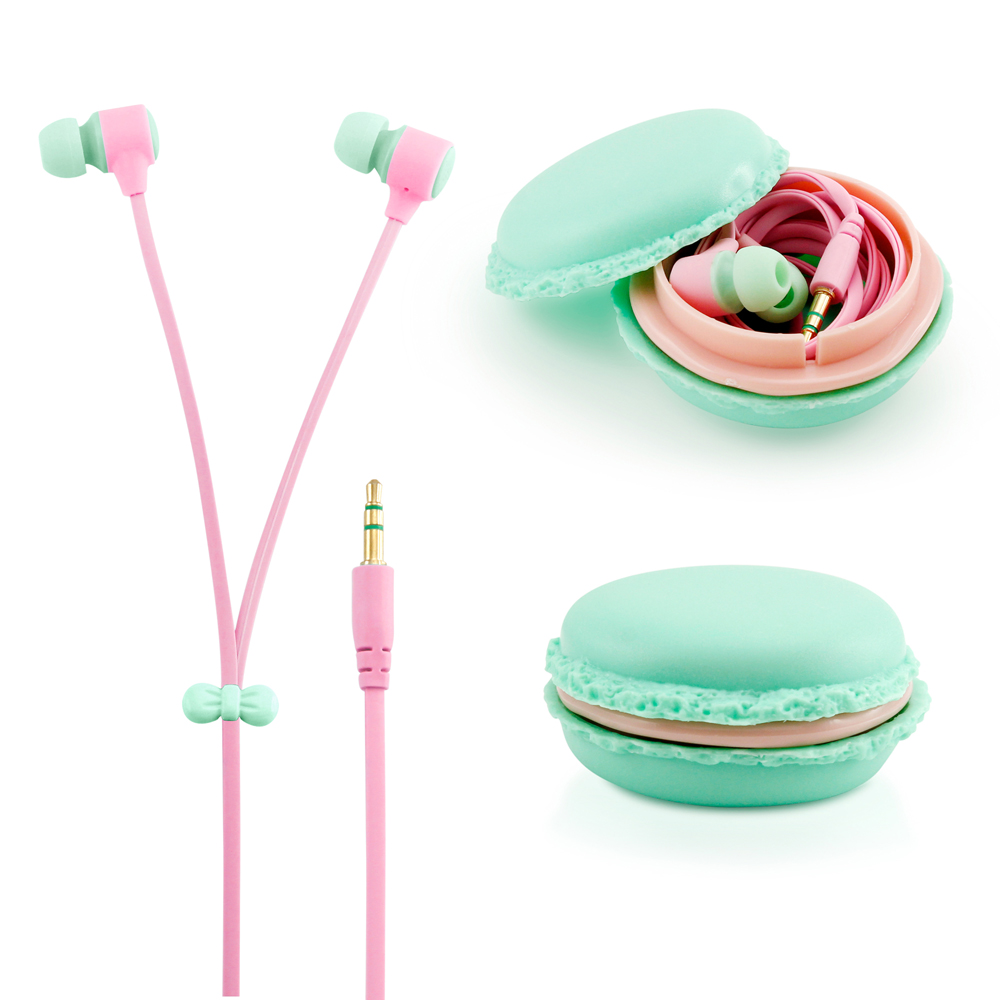 Stereo 3.5mm In Ear Earphones Earbuds Headset with Macaron Case For iPhone Samsung MP3 iPod PC Music