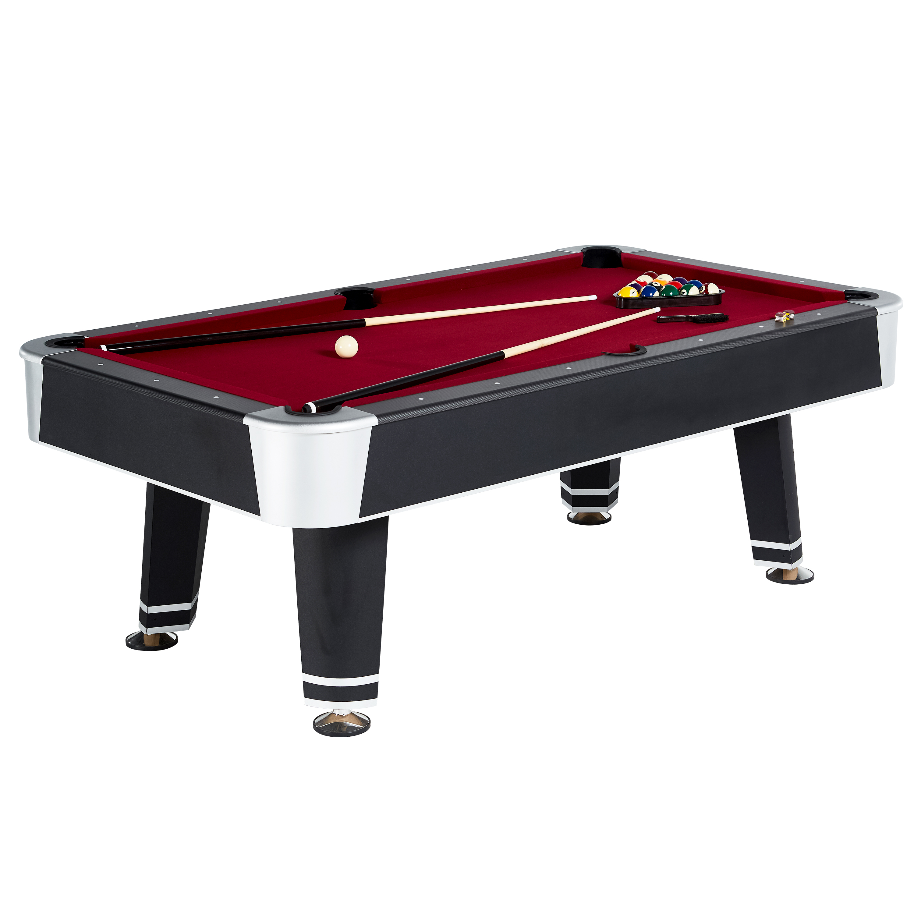 MD Sports Avondale 90 inch Billiard Table, includes billiard balls, two cue sticks, triangle rack, two chalk and brush, Black/Red