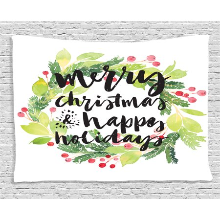 Christmas Decorations Tapestry, New Year and Happy Holiday Rustic Wreath Berries and Evergreen Image, Wall Hanging for Bedroom Living Room Dorm Decor, 60W X 40L Inches, White Green, by Ambesonne