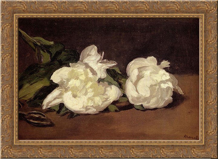 Branch Of White Peonies With Pruning Shears 24x19 Gold Ornate Wood Framed Canvas Art by Manet, Eduard by FrameToWall