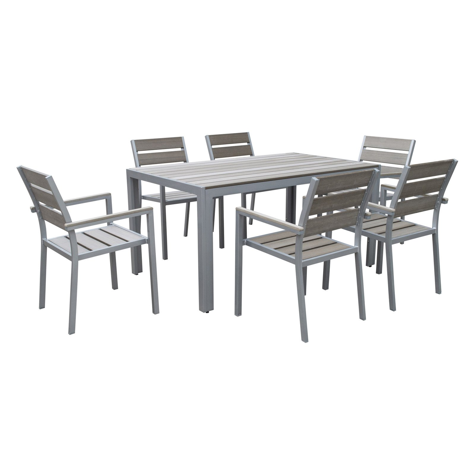 CorLiving 7pc Sun Bleached Grey Outdoor Dining Set
