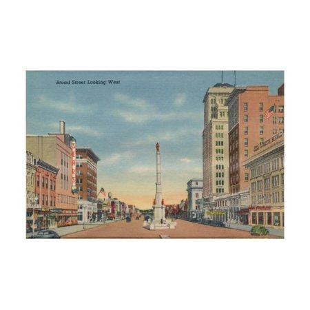 Broad Street, Looking West, Augusta, Georgia, 1943 Print Wall Art