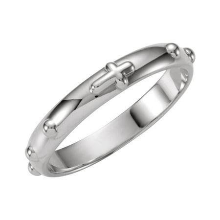 18k White Gold Rosary Ring Size 6