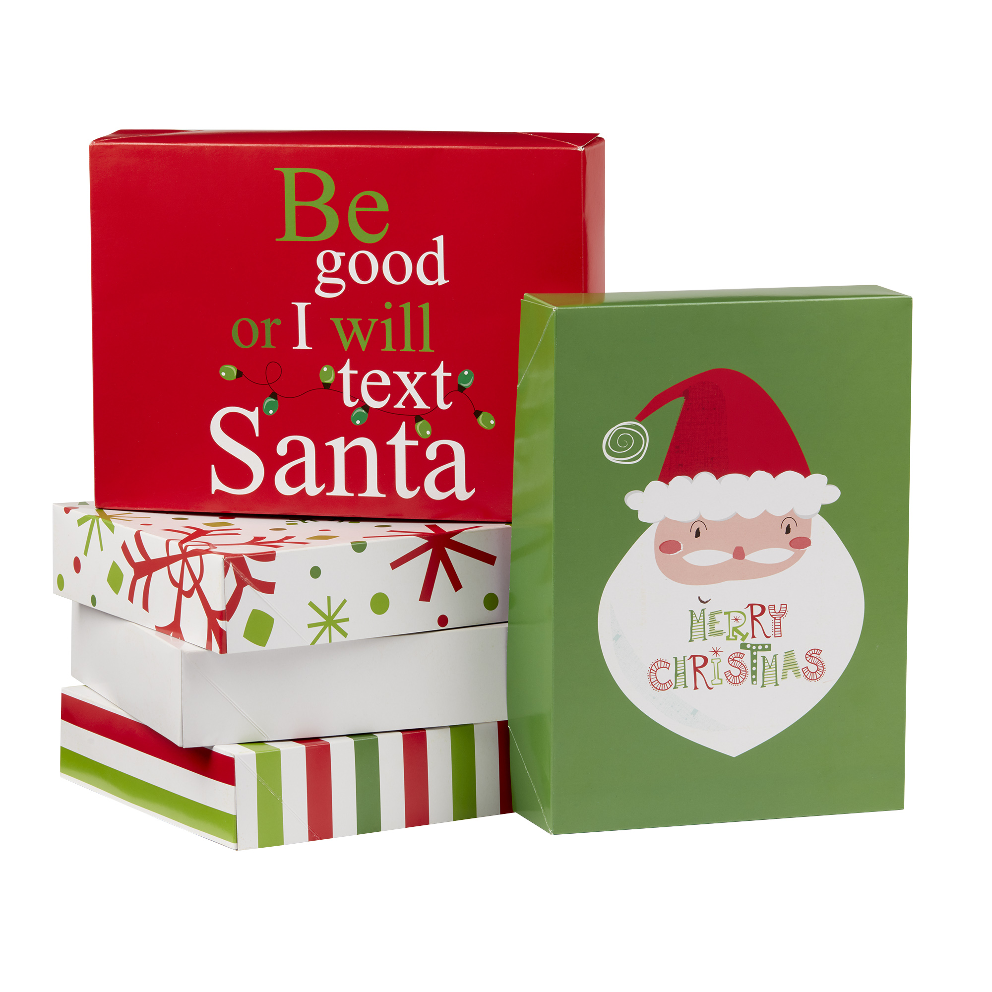 Holiday Time Decorative Gift Box Set, Santa Claus Theme, 5 Count