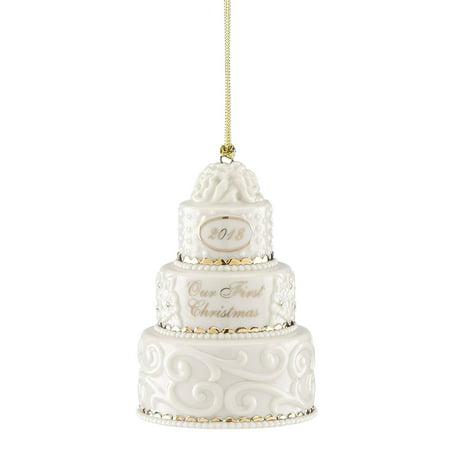 2018 Lenox Our 1st Christmas Together Wedding Cake Porcelain Ornament 877386 New