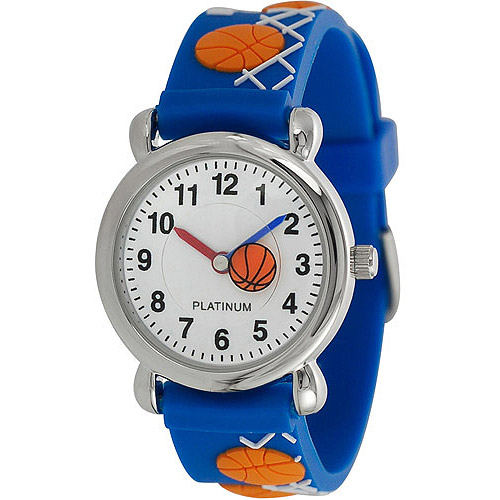 Brinley Co. Kids' Basketball Design Watch, Silicone Strap