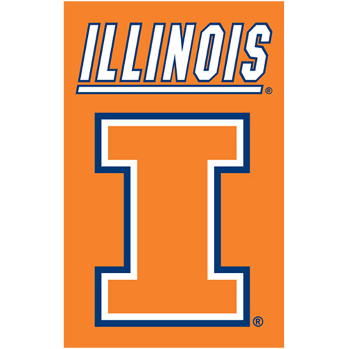 University of Illinois Applique & Embroidered Banner Flag NCAA