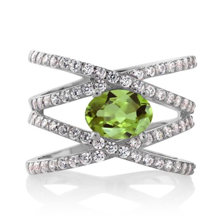 2.26 Ct Oval Green Peridot 925 Sterling Silver Women's Ring Size 5 to 9