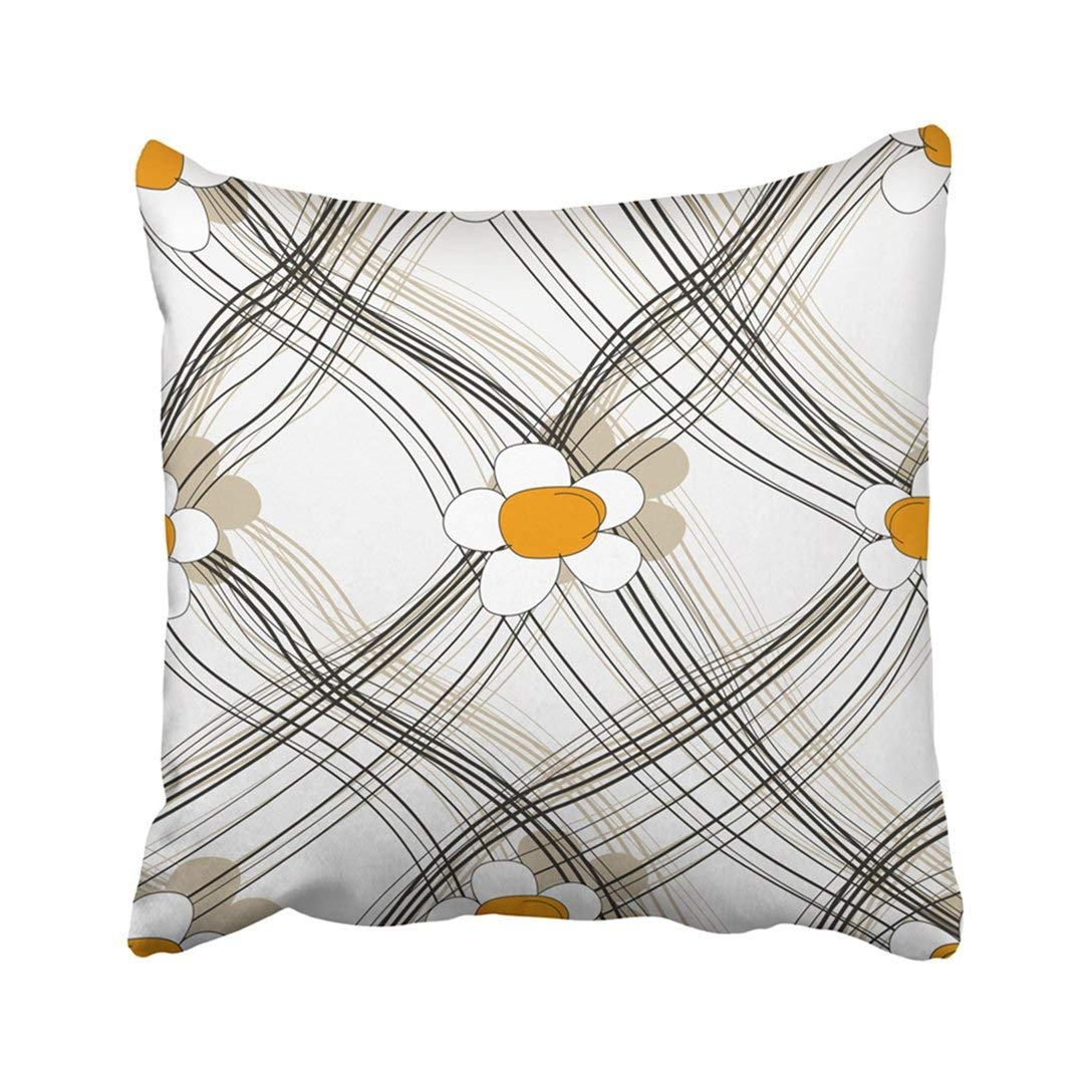 BPBOP Colorful Flower Pattern Yellow Tiny Vintage Beautiful Blossom Color Drawing Floral Pillowcase Throw Pillow Cover Case 20x20 inches