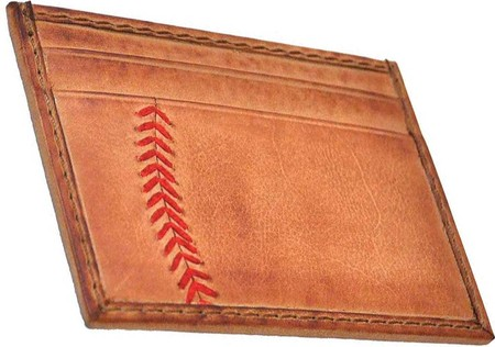 Light Brown Rawlings Mens Tanned-leather Baseball Stitch Embroidered Wallet