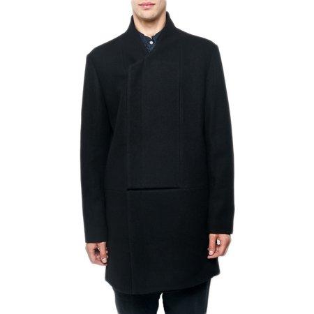 OAK NYC Men's Slash Front Coat, Large Black (Large Oar)