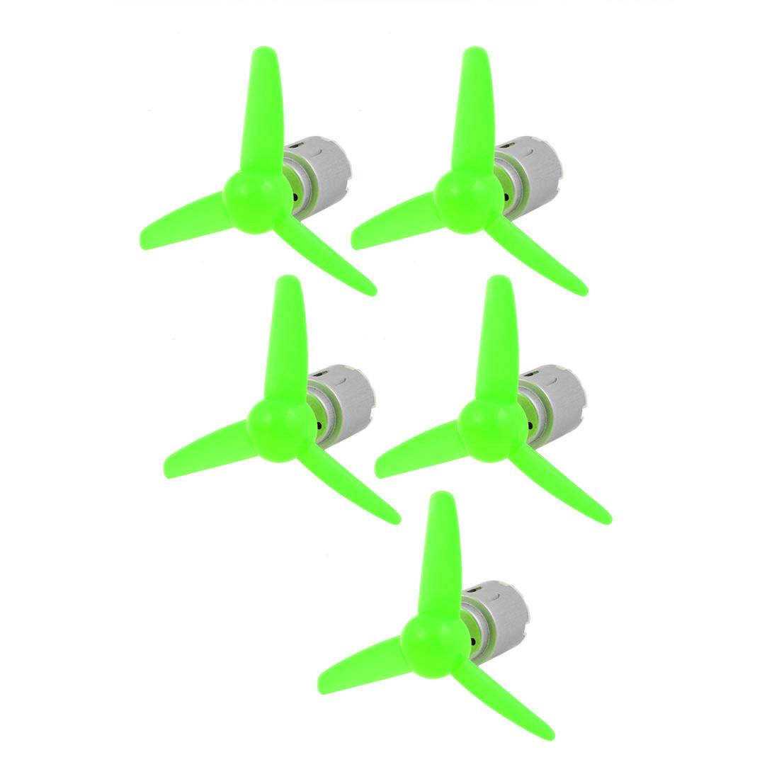 5 Pcs DC 6.0V 0.13A 5000RPM Motor 80mm 3-Vanes Pointed Propeller Green - image 6 de 6