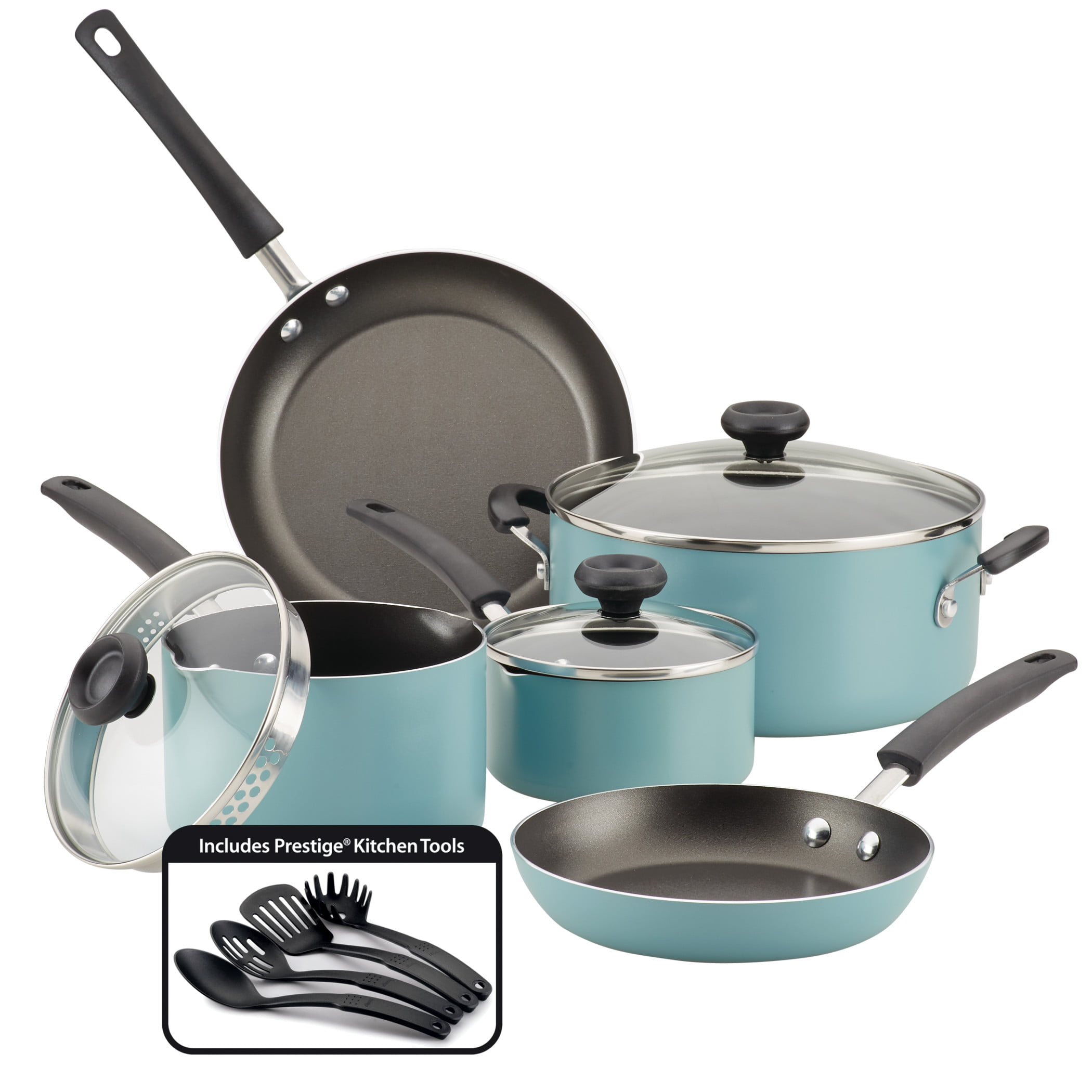 Farberware 12-Piece Easy Clean Nonstick Pots and Pans/Cookware Set, Aqua