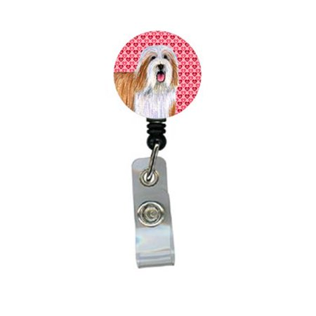 Bearded Collie Valentines Love and Hearts Retractable Badge Reel or ID Holder with Clip - image 1 de 1