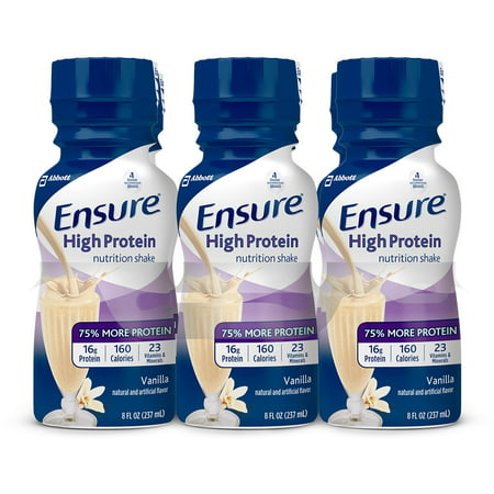 Ensure High Protein Nutritional Shake with 16g of High-Quality Protein, Ready-to-Drink Meal Replacement Shakes, Low Fat, Vanilla, 8 fl oz, 24