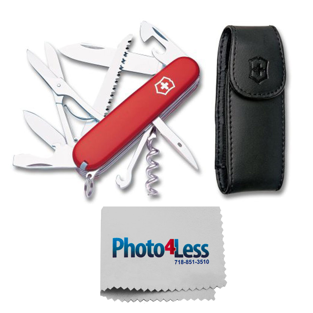 Victorinox Swiss Army Huntsman Pocket Knife with Leather Pouch, Red,Red with Pouch, 91mm + Photo4less Cleaning Cloth