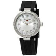 16002Sm-02 Sea Breeze Diamond Black Silicone Silver-Tone And Mop Dial Watch