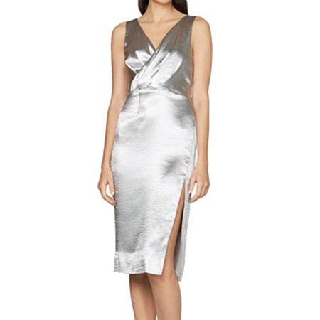 Silver Surplice - Fame And Partners NEW Silver Womens 6 Surplice Side-Slit Sheath Dress