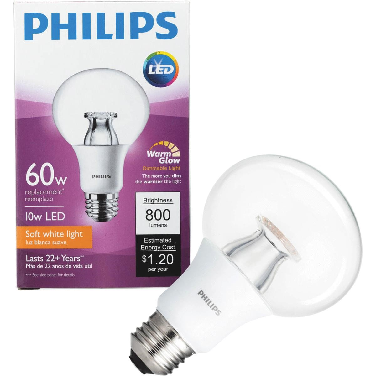 Philips LED Dimmable Light Bulb, G25, Soft White with Warm Glow, 60 WE, Medium Base