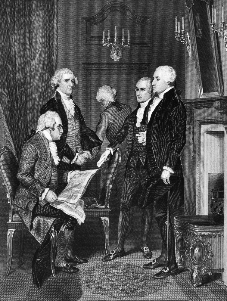 George Washington N(1732 1799) First President Of The United States George  Washington And His Cabinet Left To Right Henry Knox Thomas Jefferson Edmund  ...
