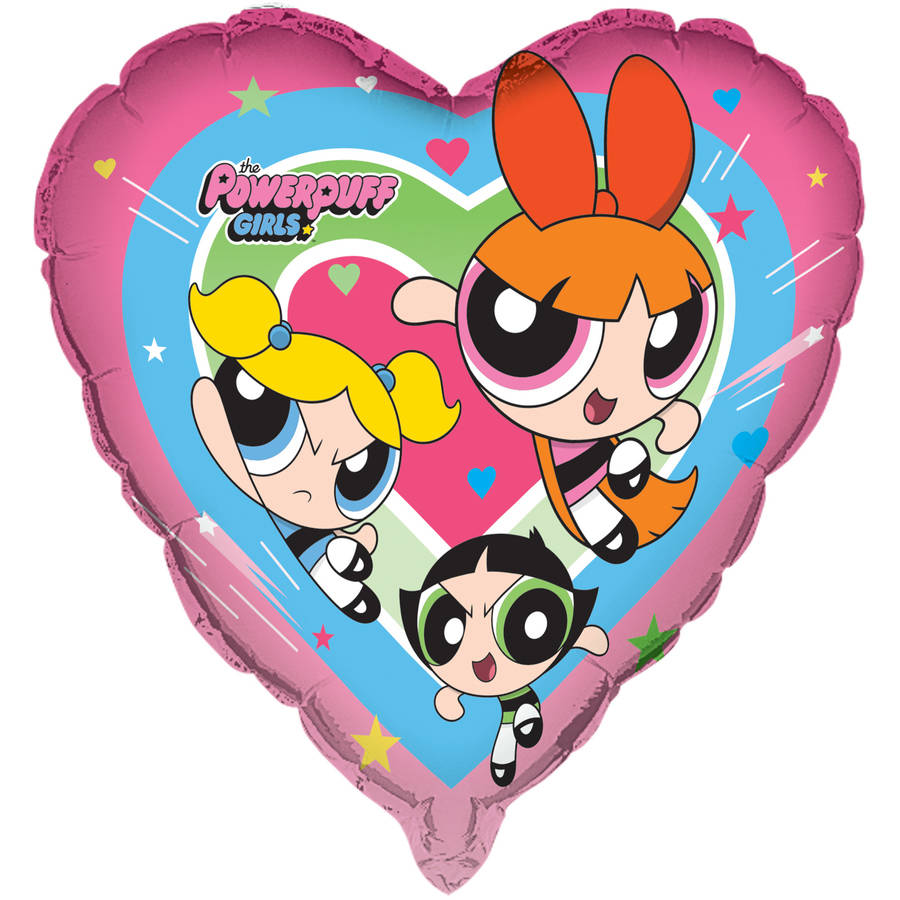 "29"" Giant Foil Heart-Shaped Powerpuff Girls Balloon"
